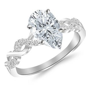 1.63 Ctw Twisting Infinity Gold and Split Shank Pave Set Engagement Ring
