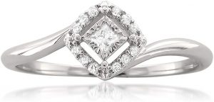 10k White Gold Princess-Cut & Round Diamond Promise Ring