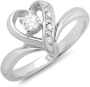 14K Round Cubic Zirconia Heart Shaped Promise Ring