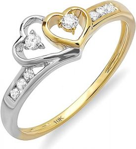 Dazzlingrock Collection 0.10 Carat 10K White & Round Diamond Ladies Promise Ring