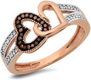 Dazzlingrock Collection 0.15 Carat (ctw) 10K Round Champagne and White Diamond Ladies Split Shank Heart Promise Ring, Rose Gold