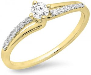 Dazzlingrock Collection 0.33 Carat (ctw) 10K Gold Round Cut Diamond Ladies Bridal Wave Promise Engagement Ring 13 CT