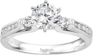 TwoBirch .77CT C&C Moissanite Traditional Three Stone Promise Ring in Silver