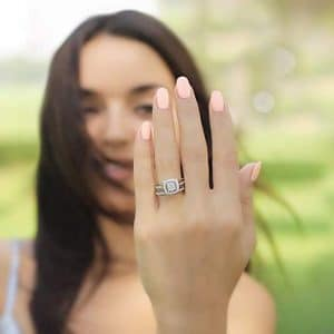 woman showing her Lab Created Diamond Engagement Ring